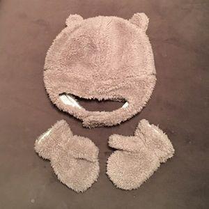 Carters Baby Boys Fleece Hat /& Mitten Set Tan 12-24 Months